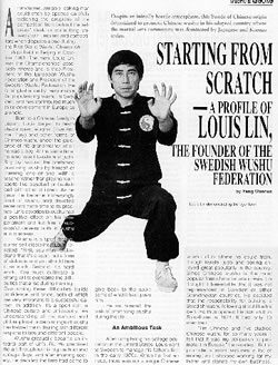 China Sport Nr 1 1992, Starting from Scratch - A profile of Louis Lin, the founder of the Swedish Wushu Federation.